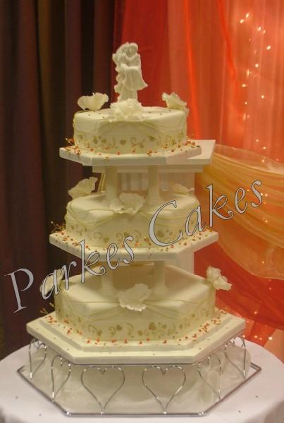 3 Tier Hexagon Jewel Wedding Cake