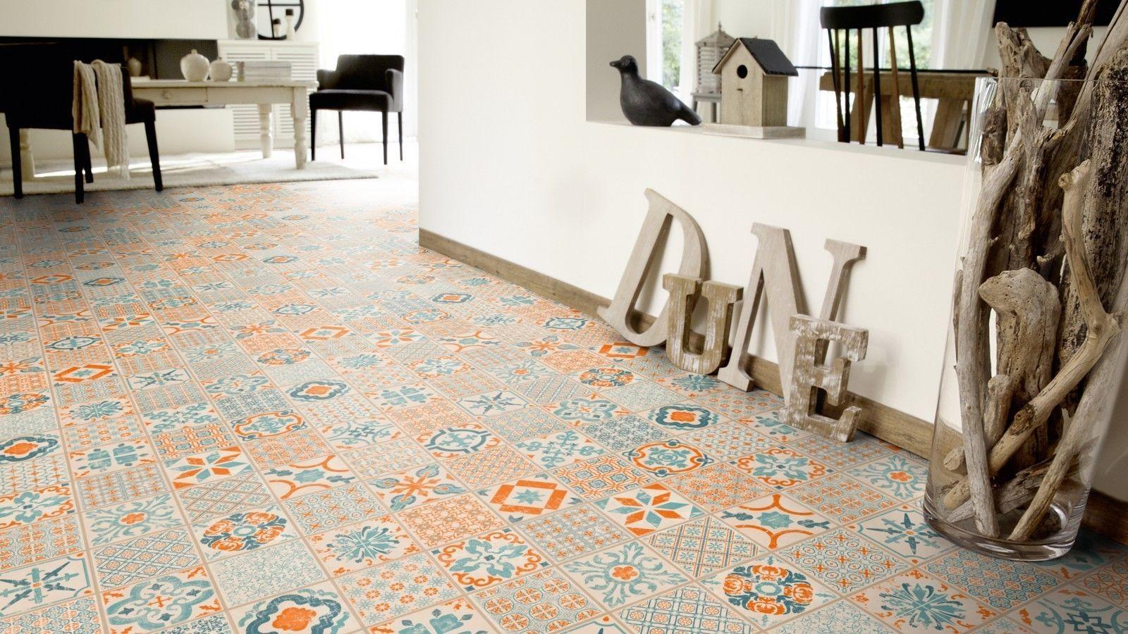 parquet vinyl floor starfloor click 30 orange blue retro tile m4v