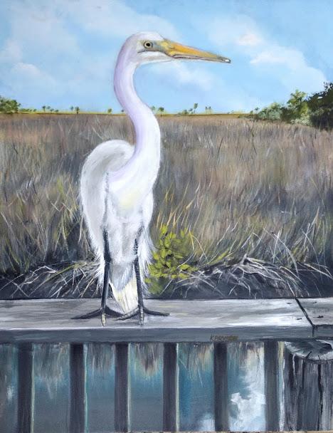 white egret, fence, tall grass