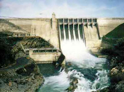 BLM photo of Folsom Dam and spillway.