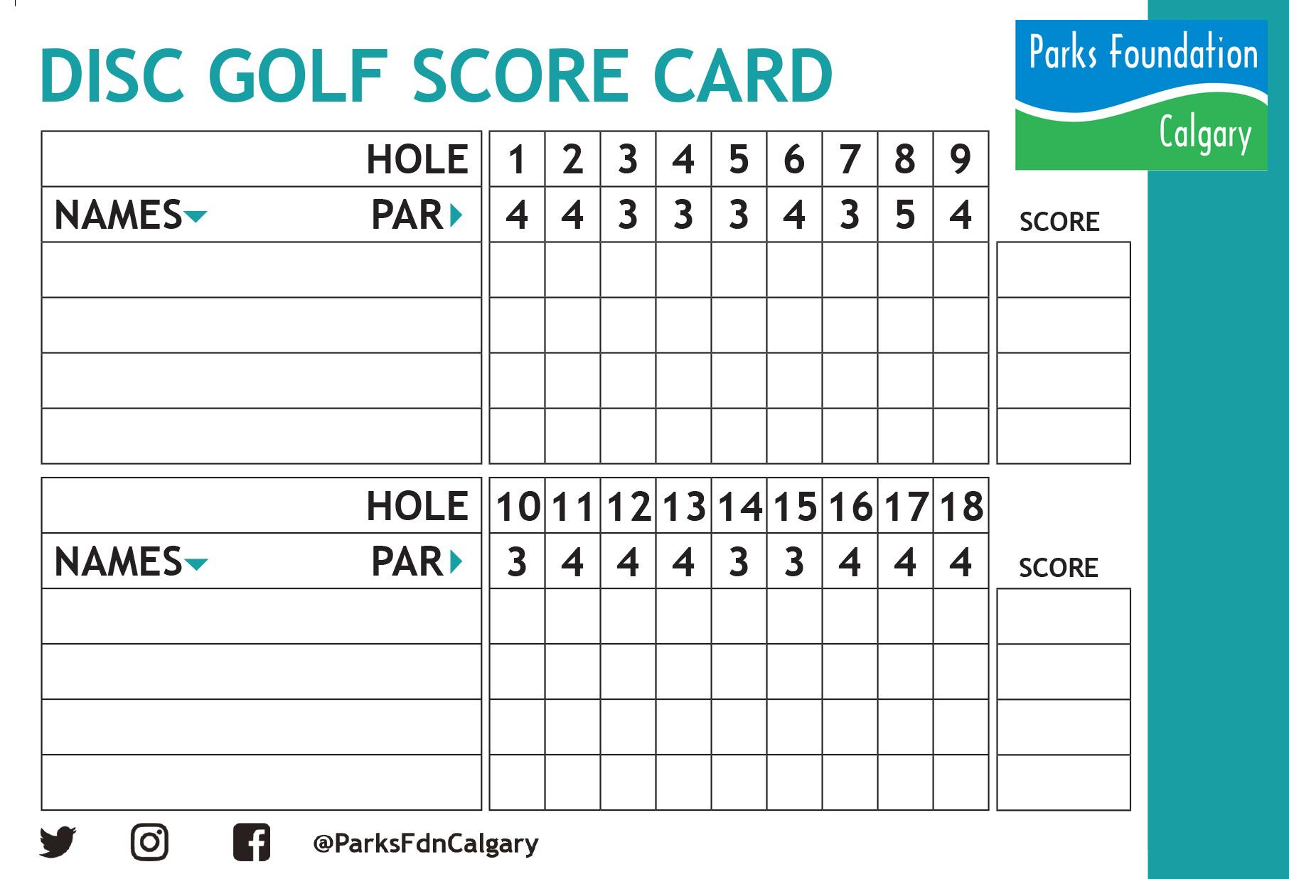 picture regarding Disc Golf Scorecard Printable named Disc Golfing Scorecard Printable
