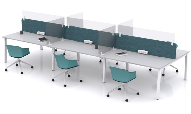 Bench desks with Park Protective Screens for your workplace