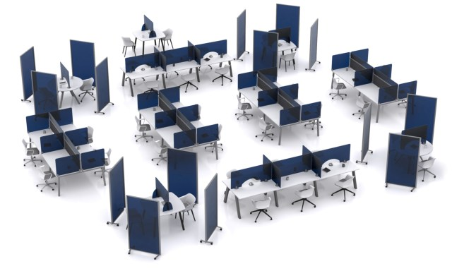 Open plan office with Park Protek protective desk screens and Park Protek protective floor standing screens