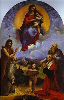 Raffaello, Madonna di Foligno, 1512, olio su tavola trasportato su tela