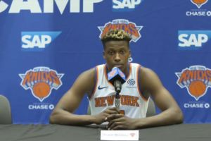 Frank Ntilikina lors du media day des Knicks