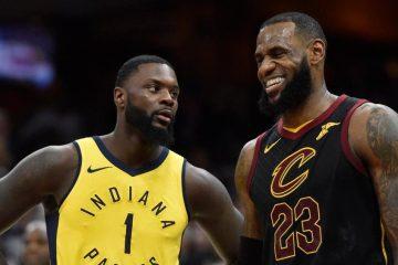 Lance Stephenson sous le maillot des Pacers d'Indiana et LeBron James sous le maillot des Cavaliers de Cleveland