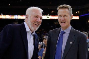 Gregg Popovich et Steve Kerr, hilares