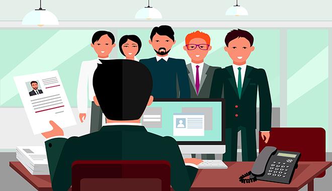 un recruteur est de dos face assis a son bureau face a 5 candidats