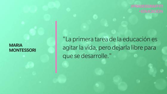 """""""La primera tarea de la educación es agitar la vida, pero dejarla libre para que se desarrolle."""" - Maria Montessori"""