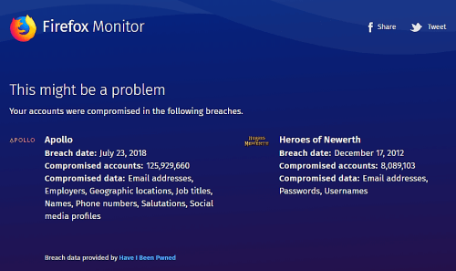 Firefox Monitor answer