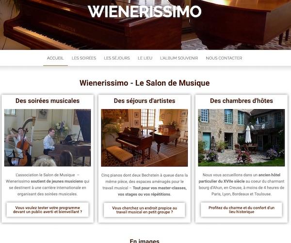 Page d'accueil du site du salon de Musique d'Ahun