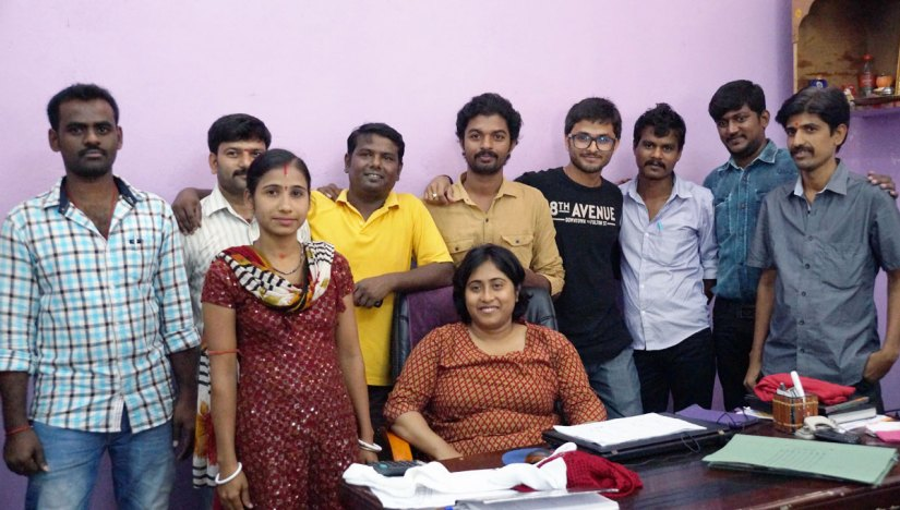clothing designer and manufacturing team