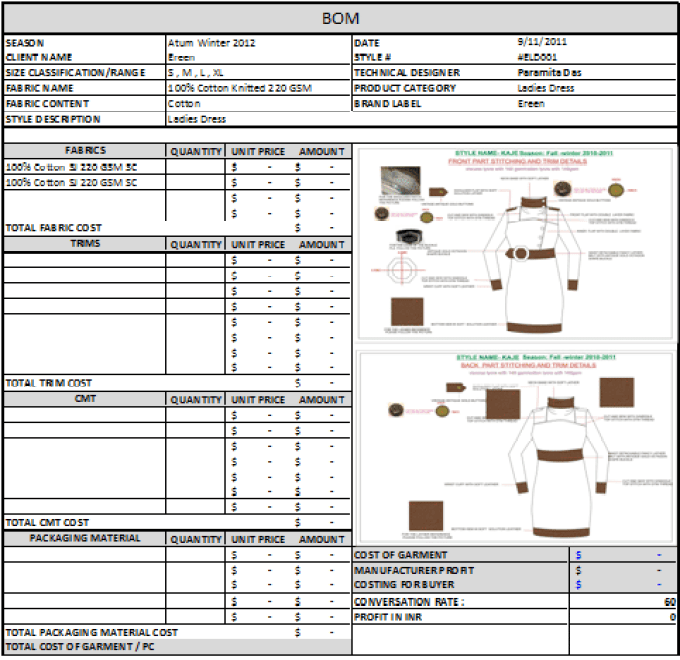 Bills Of Material - Garment Cost Sheet