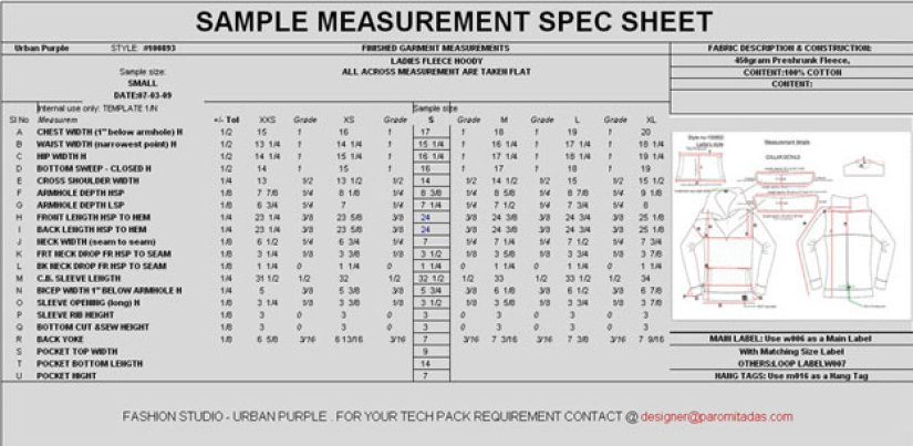 Garment Measurement Specification