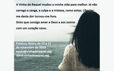Vinha de Raquel – retiro 15 a 17 de novembrode 2019