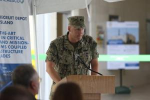 Public Works Officer Navy Cmdr. Andy Litteral speaks during a ceremony dedicated to the official opening of the depot's new power plant on Marine Corps Recruit Depot Parris Island, S.C. June 20, 2019. (U.S. Marine Corps photo by Lance Cpl. Ryan Hageali)