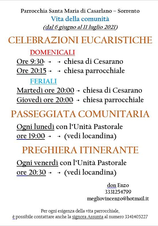 Celebrazioni Eucaristiche dal 6 giugno al 11 luglio 2021, passeggitata comunitaria, preghiera itinerante