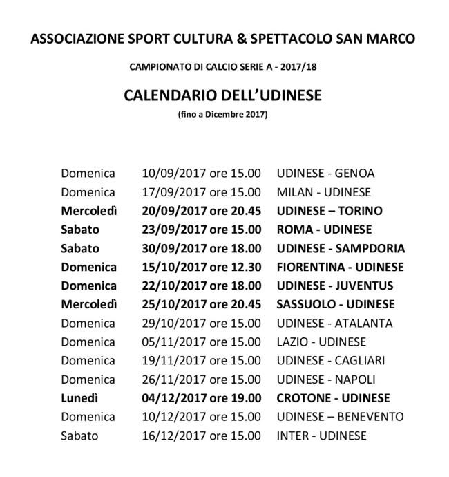 Elenco partite dell'Udinese fino al dicembre 2017