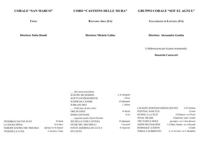 Programma Cascata di note 2018 Corale San Marco