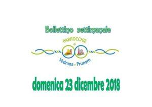 Bollettino Cento Prunaro Vedrana 23 dicembre 2018