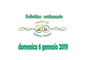 Bollettino Vedrana Cento Prunaro 6 gennaio 2019