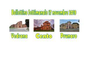 Read more about the article Bollettino Vedrana Cento Prunaro 17 novembre 2019