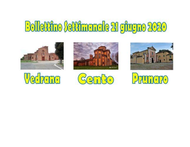 Bollettino Vedrana Cento Prunaro 21 giugno 2020