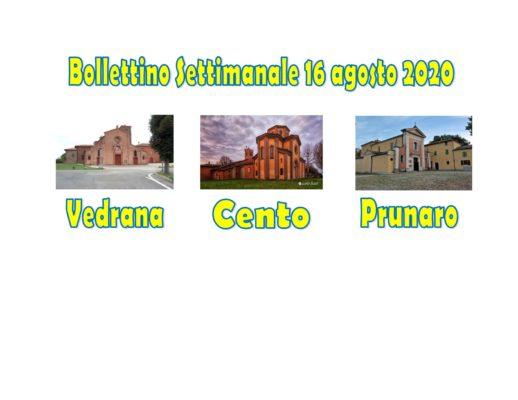 Bollettino Vedrana Cento Prunaro 15 – 16 agosto 2020