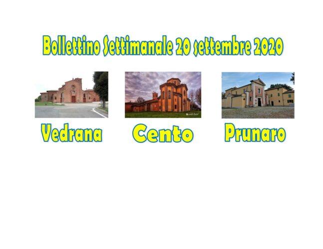 Bollettino Vedrana Cento Prunaro 20 settembre 2020