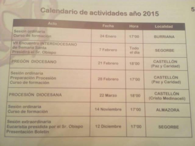CALENDARIO DE ACTIVIDADES SEMANA SANTA  2015