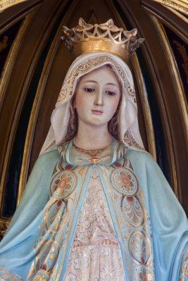 """Detalle del bello rostro de la """"Virgen Milagrosa"""" de nuestra iglesia parroquial de San Nicolás de Murcia. (Pinchando en la imagen se puede ver ampliada)."""