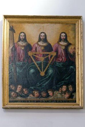 """Cuadro de la """"Santísima Trinidad"""" (siglo XVII). Iglesia parroquial de San Nicolás de Murcia. (Pinchando en la imagen se puede ver ampliada)."""