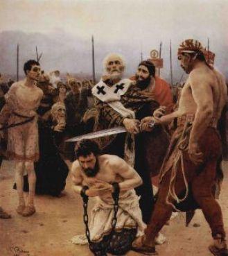 San Nicolás salva de la muerte a tres inocentes injustamente condenados. Un episodio célebre de su vida.