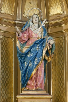 """Imagen sagrada de la """"Virgen de los Dolores"""". Autor: Francisco Salzillo, año 1.741. Iglesia parroquial de San Nicolás de Murcia. (Pinchando en la imagen se puede ver ampliada)."""