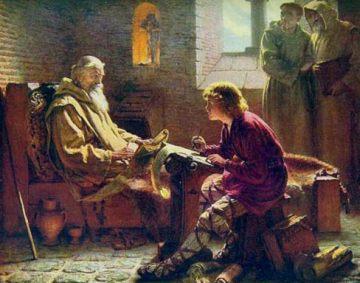 """""""San Beda el Venerable traduciendo el Evangelio de San Juan"""" (James Doyle Penrose, 1.902)."""