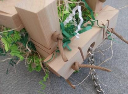 wood jenga parrot toy