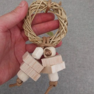 parrot toy with balsa wood
