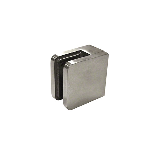 Brushed Stainless Steel Small Square Flat Back Glass Clamp 45 x 45 mm