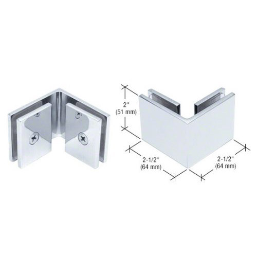 Polished Chrome Square 90 Degree Glass-to-Glass Clamp