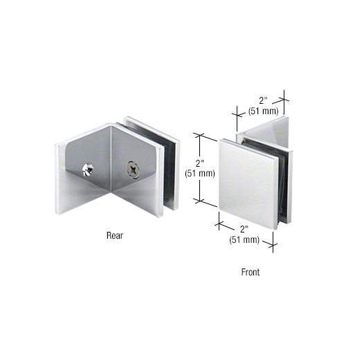 PAR Chrome Square Style Notch-in-Glass Fixed Panel U-Clamp