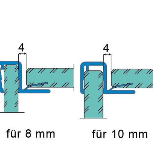 Sealing Strip 90°, for doors opening in one direction for 8 - 10 mm