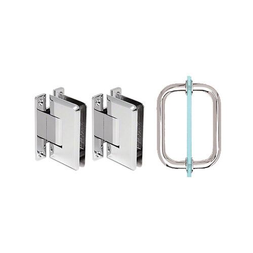 shower door hinge and pull handle set