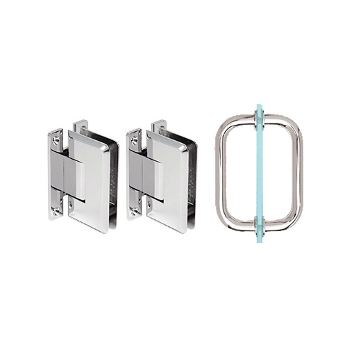shower door hinge and pull handle set