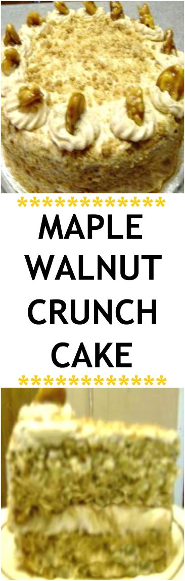 MOIST and delicious Maple Walnut Crunch Cake with two maple frosting options and two crunch layers baked into both cake layers! I've never had a maple cake with as much maple flavor as this one! #maplecrunch #maple #maplecake #maplewalnut #walnut #cake #candiedwalnuts