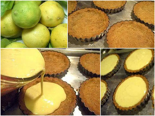 Individual Key Lime Tarts with White Chocolate Mousse, Raspberry, Candied Macadamia Nuts, and Macadamia Simple Syrup