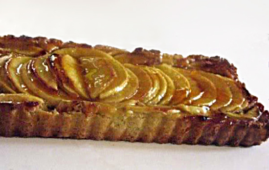Apple Fig Mascarpone Tart with Honey Apricot Glaze and Green Apple Ice