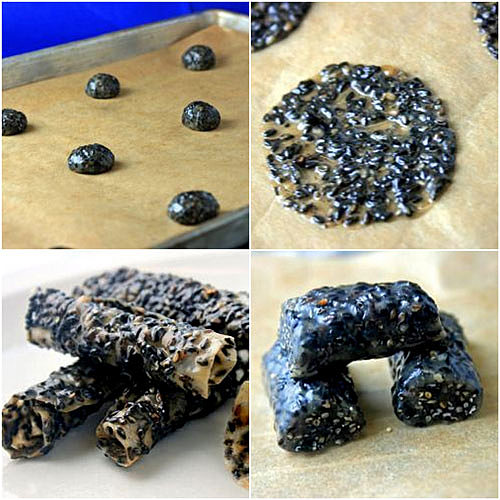 Black Sesame Lace Cookies, or Candy