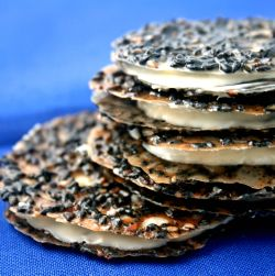 Black Sesame Lace Cookie Sandwiches