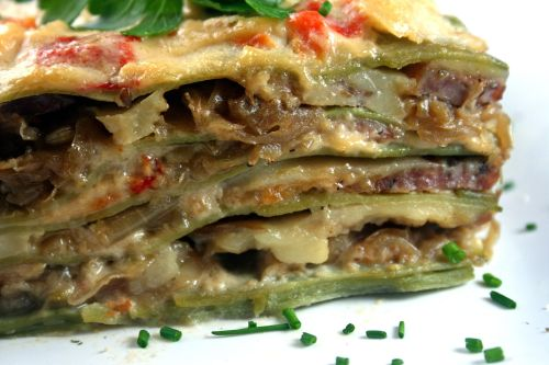 Caramelized Onion and Sausage Lasagne with Roasted Red Pepper Bechamel and Pasta Verde
