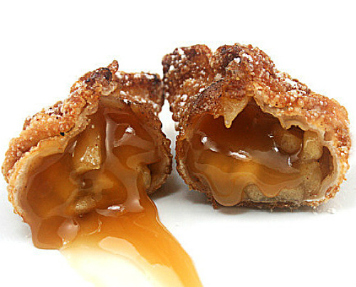 How about a sweet, fried dumpling? Caramel Apple Cinnamon Sugar Dumplings aka 'Churro' Apple Dumplings)